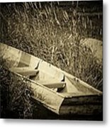Row Boat And Rock Metal Print