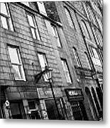 Row Of Old Granite Houses And Shops On The Green Aberdeen Scotland Uk Metal Print