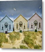 Row Of Pastel Colored Beach Cottages Metal Print