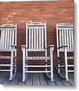 Row Of Rocking Chairs Metal Print