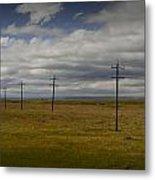 Row Of Utility Poles On The Prairie Metal Print