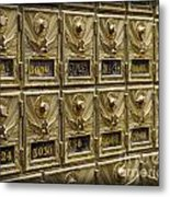 Rows Of Post Office Mailboxes With Combination Locks And Brass O Metal Print
