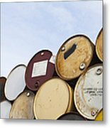 Rows Of Stacked Barrels Metal Print