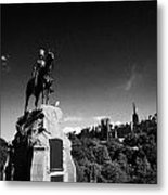 Royal Scots Greys Boer War Monument In Princes Street Gardens Edinburgh Scotland Uk United Kingdom Metal Print
