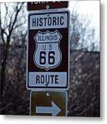 Rt 66 Il Turn Out Signage Metal Print