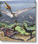 Rugops Primus Dinosaurs And Alanqa Metal Print