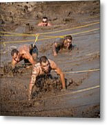 Runners Navigate An Obstacle Course Metal Print