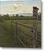 Rural Birdhouse On Fence Metal Print