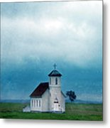 Rural Church With Stormy Sky Metal Print