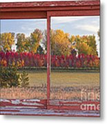 Rural Country Autumn Scenic Window View Metal Print