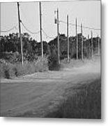 Rural Dirt Road In Black And White Metal Print