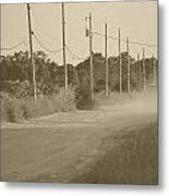 Rural Dirt Road In Sepia Metal Print