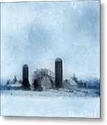 Rural Farm In Winter Metal Print