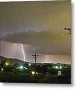 Rural Lightning Striking Metal Print