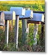 Rural Mail Boxes In Color Metal Print
