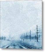 Rural Road In Winter Metal Print