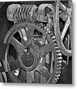 Rust Gears And Wheels Black And White Metal Print
