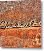 Rusted Antique Chevrolet Logo Metal Print