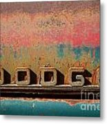 Rusted Antique Dodge Car Brand Ornament Metal Print