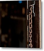 Rusted Chain Lock - Color Metal Print