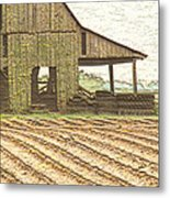 Rustic Barn And Field Rows Metal Print