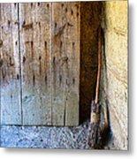 Rustic Door And Broom Metal Print