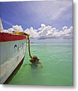 Rustic Fishing Boat Of Aruba Metal Print