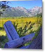 Rustic Moss Covered Pioneer Era Fence In Olympic Valley California Metal Print
