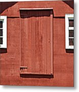 Rustic Red Barn Door With Two White Wood Windows Metal Print