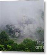 Rustic Village In The Fog Metal Print