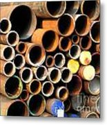 Rusty Steel Pipes Metal Print