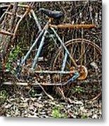 Rusty Wheel Of Bicycle Metal Print