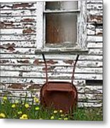 Rusty Wheelbarrow And Wildflowers Metal Print
