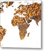 Rusty World Map Metal Print