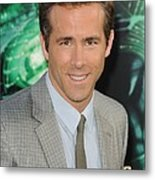 Ryan Reynolds At Arrivals For Green Metal Print