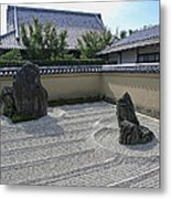 Ryogen-in Raked Gravel Garden - Kyoto Japan Metal Print