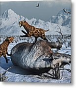 Sabre-toothed Tigers Battle Metal Print
