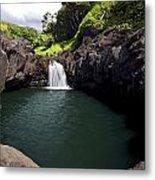 Sacred Pool And Waterfall Metal Print