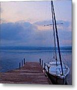 Sailboat And Dock Metal Print