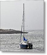 Sailboat In Maine Fog Metal Print