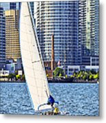 Sailboat In Toronto Harbor Metal Print