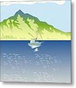 Sailboat Mountains Retro Metal Print