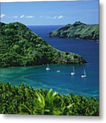 Sailboats Anchored In A Cove Of Blue Metal Print by Tim Laman