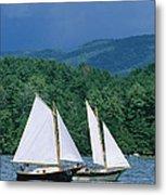 Sailboats And Darkening Sky, Lake Metal Print