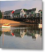 Sailboats And Harbor Waterfront Reflections Metal Print