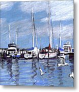 Sailboats And Seagulls Metal Print