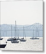 Sailboats And The Tappan Zee Bridge Metal Print