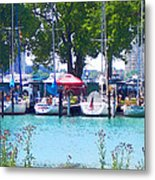 Sailboats In Dock Metal Print