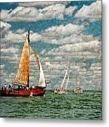 Sailboats In The Netherlands By The Zuiderzee Metal Print