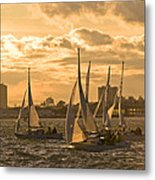 Sailboats On Lake Ontario At Sunset Metal Print